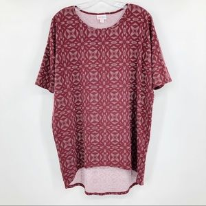 Lularoe Irma Tunic T Geometric Maroon High Low XS